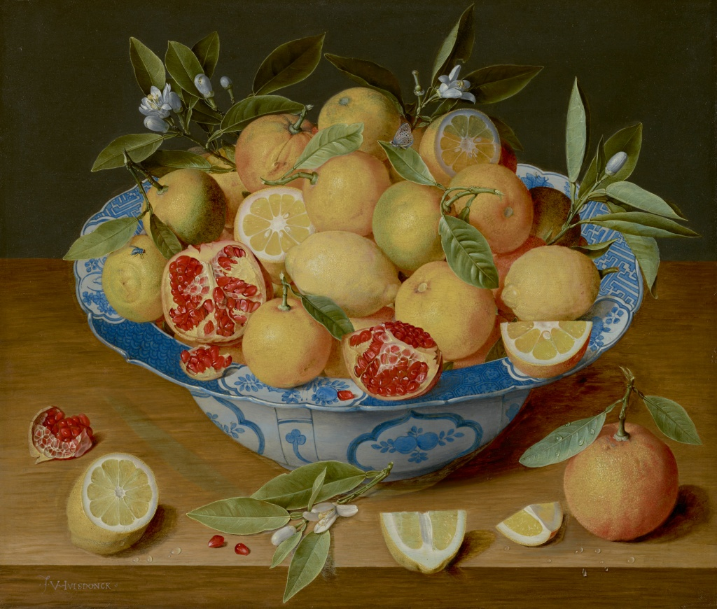 Still life painting with lemons, oranges, and pomegranates in a blue and white bowl. Artwork by Jacob van Hulsdonck.