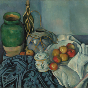 Still life painting with apples laid out on a towel next to decorative vases. Artwork by Paul Cézanne.