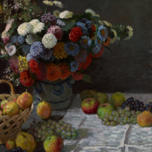Still life painting of flowers and fruit. Artwork by Claude Monet.