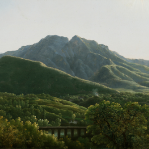 Painting of lush green mountain scape with bridge visible in foreground. Artwork by Jean-Joseph-Xavier Bidauld.